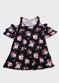 Plus Black Floral Print Cold Shoulder Mini Dress