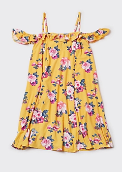 Plus Yellow Floral Print Ruffled Cold Shoulder Skater Dress
