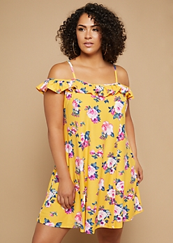 Plus Yellow Floral Print Cold Shoulder Ruffled Swing Dress