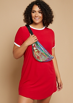 Plus Red Soft Knit Ringer T Shirt Dress