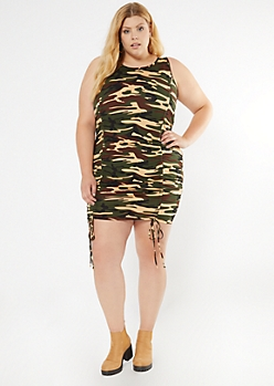 Plus Camo Print Ruched Drawstring Bodycon Dress