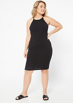 Plus Black Ribbed Knit Bodycon Dress