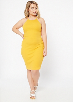 Plus Mustard Ribbed Knit Bodycon Dress