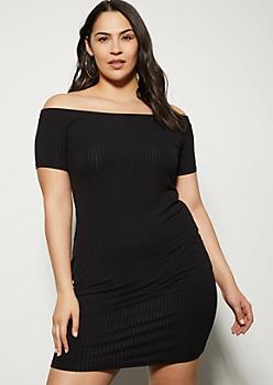 Plus Black Ribbed Knit Off The Shoulder Mini Dress