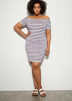 Plus White Striped Off The Shoulder Mini Dress