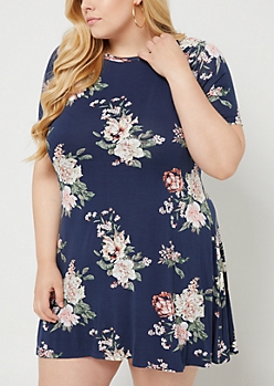 Plus Navy Floral Print Lattice Sleeve Dress