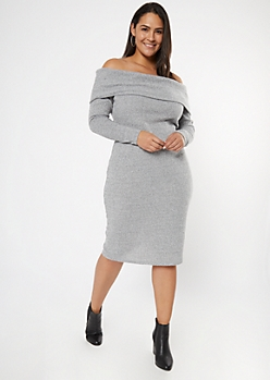 Plus Gray Off The Shoulder Hacci Knit Midi Dress