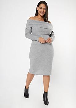 Plus Gray Off The Shoulder Hacci Knit Midi Dress