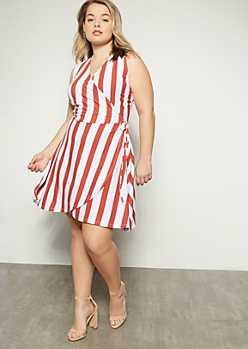 Plus Red Striped Sleeveless Surplice Dress