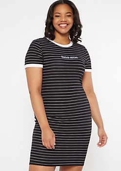 Plus Black Striped Limited Edition Embroidered Dress