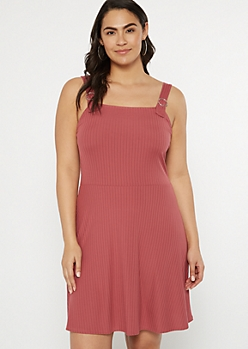 Plus Dusty Pink Ribbed Knit Buckle Strap Dress