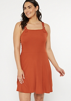 Plus Burnt Orange Ribbed Knit Buckle Strap Dress
