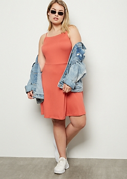 Plus Coral Super Soft Bungee Skater Dress