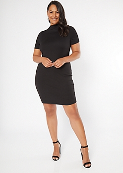 Plus Black Mock Neck Bodycon Mini Dress