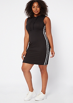 Plus Black Side Striped Super Soft Hooded Dress