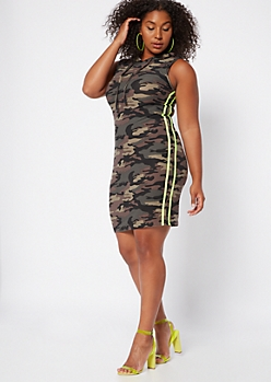 Plus Camo Print Side Striped Super Soft Hooded Dress