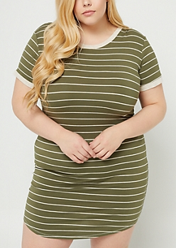 Plus Olive Striped Pattern T Shirt Dress