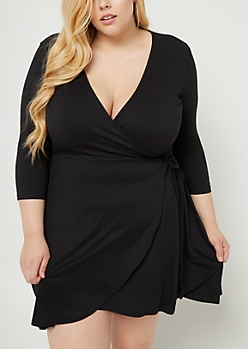 Plus Black Soft Knit Wrap Dress