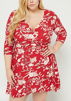Plus Burgundy Floral Soft Knit Wrap Dress