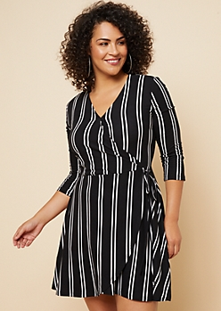 Plus Black Vertical Stripe Print Tie Skirt Wrap Dress