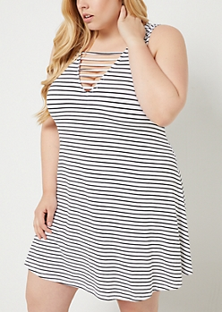 Plus White Striped Caged Swing Dress