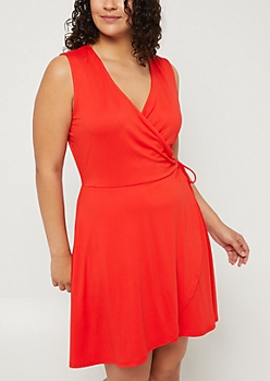 Plus Red Sleeveless Wrap Dress