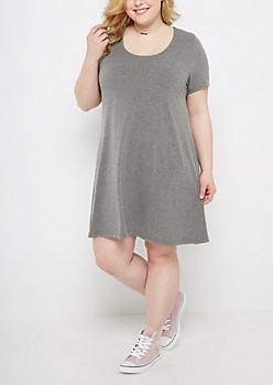 Plus Heather Gray T-Shirt Swing Dress