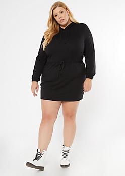 Plus Black Drawstring Waist Hoodie Dress