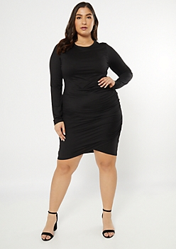Plus Black Super Soft Side Ruched Dress