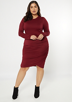 Plus Burgundy Super Soft Side Ruched Dress