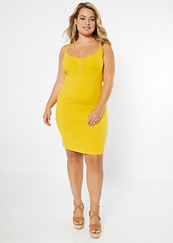 Plus Mustard Henley Button Ribbed Bodycon Dress