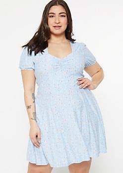 Plus Blue Floral Print Sweetheart Neckline Dress