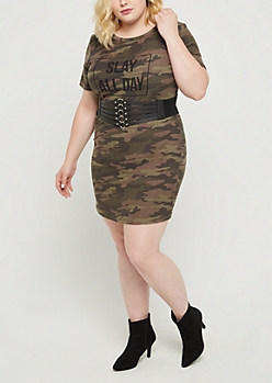 Plus Slay All Day Camo T Shirt Dress