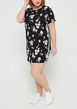 Plus Cherry Blossom Side Stripe T Shirt Dress