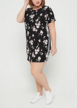 Plus Black Cherry Blossom Print Varsity Dress