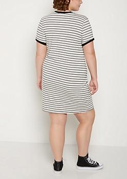 Plus White Striped Ringer Dress