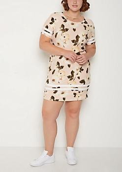 Plus Burgundy Athletic Striped T Shirt Dress