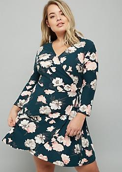 Plus Green Floral Print Surplice Wrap Dress