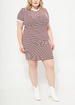 Burgundy Striped Ringer Soft Knit Dress