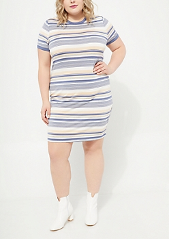 Multi Striped Ringer Soft Knit Dress