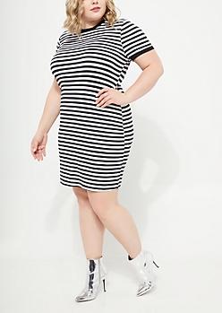 Plus Black Striped Pattern Super Soft Dress