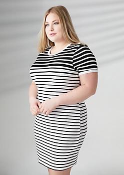 Plus White Gradient Striped Ringer Soft Knit Dress