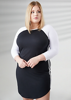 Plus Black Raglan Sleeve Varsity Dress