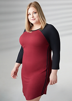 Plus Burgundy Raglan Sleeve Varsity Dress