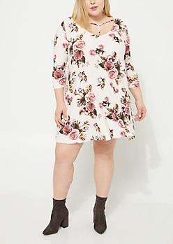 Plus Ivory Floral Y-Neck Swing Dress