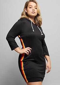 Plus Black Side Striped Super Soft Hooded Mini Dress