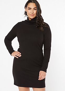 Plus Black Turtleneck Fitted Midi Dress