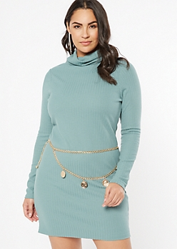 Plus Teal Turtleneck Fitted Midi Dress