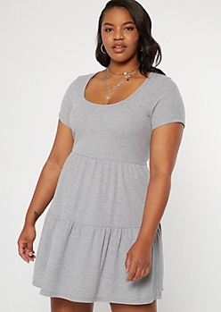 Plus Gray Tiered Babydoll Dress