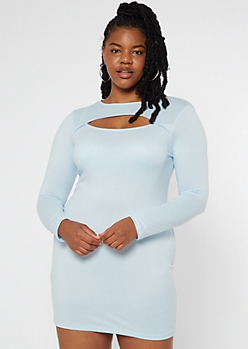 Plus Blue Super Soft Cutout Long Sleeve Dress